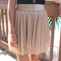 Queen Of The Nile Taupe Pleated Skirt With Gold Waistband