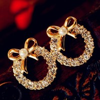 Pearl Bow And Rhinestone Wreath Earrings