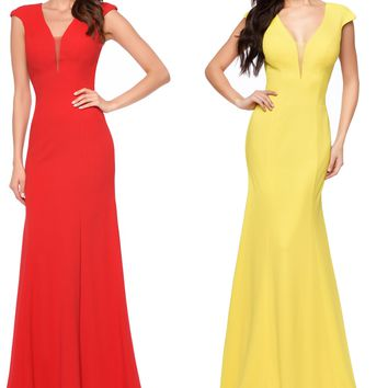 Abby Paris by Lucci Lu 93007 Cap Sleeve Stretch Gown