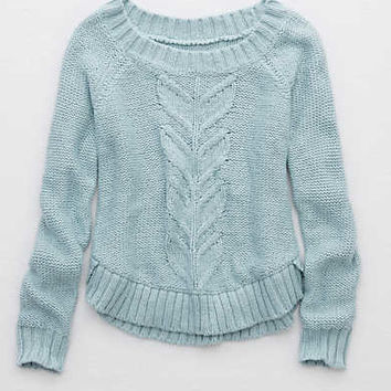 Aerie Round Hem Sweater , Blue