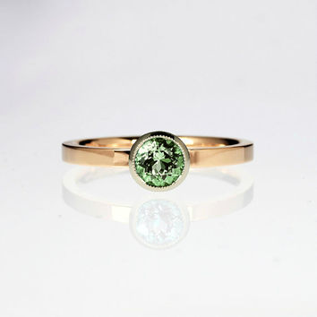 Peridot engagemen ring, rose gold ring, bezel engagement ring, unique, solitaire, green engagement, peridot solitaire, white gold, two tone
