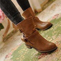 British Casual Wrapped Buckle Short Martin Boots
