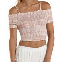 Deep Blush Shirred Off-the-Shoulder Crop Top by Charlotte Russe