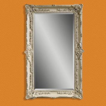 Rectangle Antique White Rubbed Wall Mirror