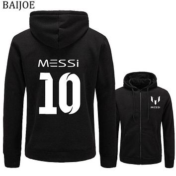 BAIJOE New MESSI Hoodie Messi 10 Print Cardigan Men Hoodies Sweatshirts Casual Sportwear Zipper Jacket Coat Slim Fit Hoody