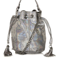 Holographic Leather Pouch Bag