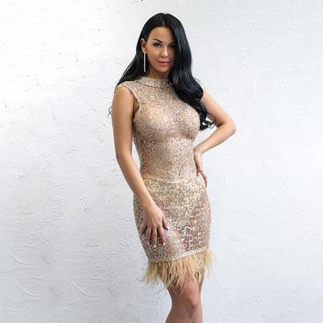 """Trophy"" Sheer sequins fur detail bodycon dress"