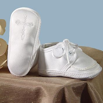 Embroidered Celtic Cross White Satin Oxford Christening Shoes (Infant Boys newborn - 9 months)
