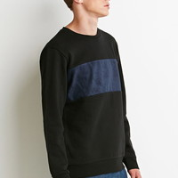 Faux Suede Panel Sweatshirt | 21 MEN - 2000156692