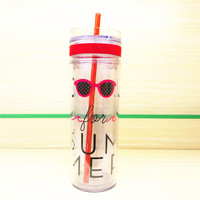 Double-layered Cup Stylish Plastic Hot Sale Straw [6283311302]