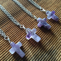 Amethyst Cross Pendant Necklace