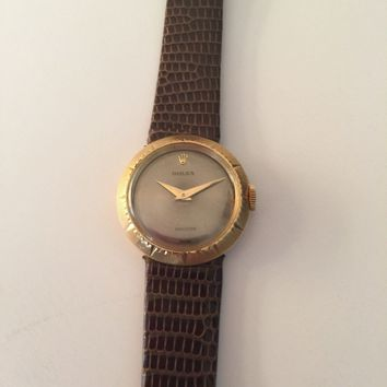Vintage Ladies 18k Yellow Gold Rolex Precision Watch w/Rolex Band.  A beauty!