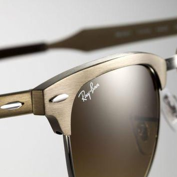 Kalete RARE Ray-Ban ALUMINIUM CLUBMASTER Brushed Gold Sunglasses RB 3507 139/85 49 MM