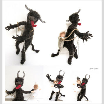 Krampus doll, needle felted, posable sculpture, collectors doll, mythical creature, creepy gift, evil curio, alternative christmas