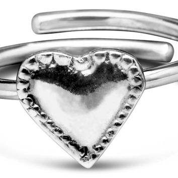 Sterling Silver and Gold Vermeille Monterey Heart Silver Spoon Ring