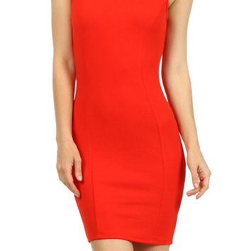 Sexy Boatneck Low Back Ruffle Trim Jacquard Knit Tank Bodycon Stretch Mini Dress