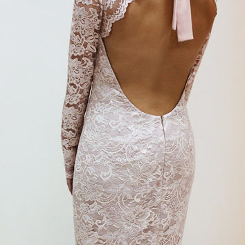 Champagne Lace Dress with Keyhole Back, Custom Made Wedding Dress, V neck LAce Dress with Sleeves