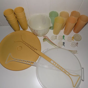 Vintage Tupperware Serving Lot Tumblers, Iced Tea Spoons, Veggie Tray, Measuring