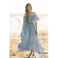 Alina Slate Blue Off the Shoulder Maxi Dress
