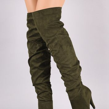 Anne Michelle Slouchy Pointy Toe OTK Thick Heeled Boots