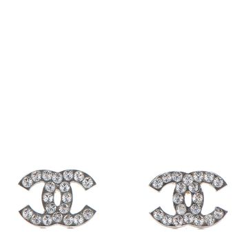 CHANEL Crystal Timeless CC Earrings Silver