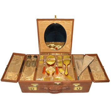 Antique Art Deco Fitted Duplex Traincase Suitcase with Lucite Vanity Dresser Set Brush Crystal Jars Mirror Brush 1924