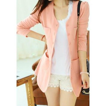 Casual Style Scoop Neck Candy Color Puff Sleeve Coat