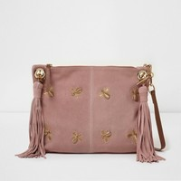 Pink bee embellished suede tassel bag - Shoulder Bags - Bags & Purses - women