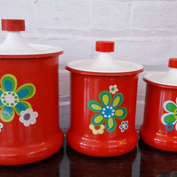 1960's Mod Style Orange Metal Canister Kitchen Set