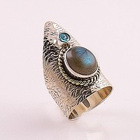 Blue Topaz & Labradorite Two Tone Sterling Silver Ring