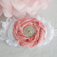 White Pink Calico Fabric Rosette Chiffon Cluster Flower Headband Flower Rhinestone Accessory Choose Your Size