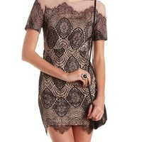 Black Combo Lace & Mesh Bodycon Dress by Charlotte Russe