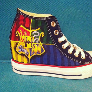 096cce0c61b127 Hand Painted Harry Potter Shoes - Hogwarts Crest  Hogwarts Cast