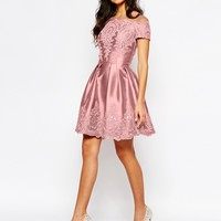 Chi Chi London Midi Dress with Embroidery and Cap sleeve at asos.com