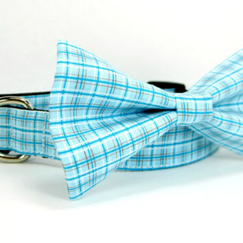 Turquoise Blue Plaid Dog Collar with bow tie set(Mini,X-Small,Small,Medium ,Large or X-Large Size)- Adjustable