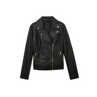 Notched Collar Long Sleeves Zipper Faux Leather Jacket