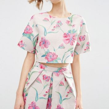 ASOS Floral Jacquard Tee Co Ord at asos.com