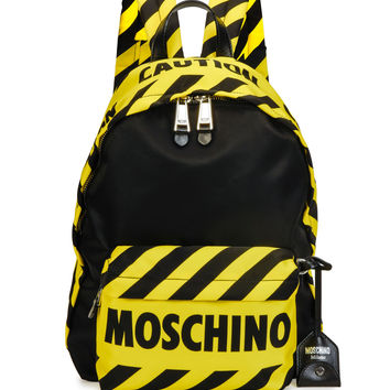 Caution Tape Backpack, Black/Yellow
