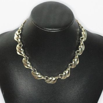 Coro Swirled Design Choker Necklace Gold Tone Coro Signed Vintage Designer Jewelry