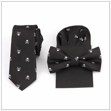 Tie bow tie and handkerchief set print skull polyester red black blue