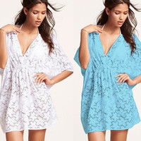 Women Summer Sexy Lace Floral Short Sleeve Swimwear Bikini Cover Up Beach Dress (Color: White) = 1945866692