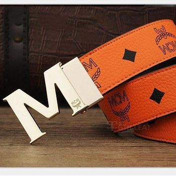 MCM Fashionable Woman Smooth Buckle Print Belt Leather Belt Orange I-A-GFPDPF