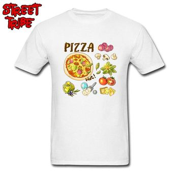 Pizza Hot! T-shirt Men Funny T Shirt Foodie Lover Clothing Fast Food Elements Print Tops Tshirt Custom Chef Tees Cotton Fabric