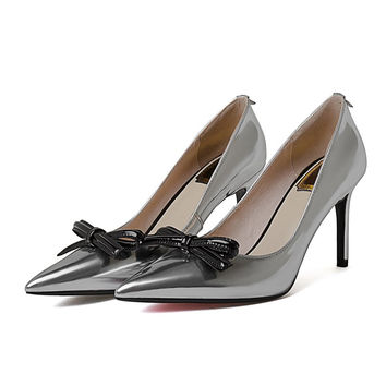 Sexy high heel full genuine leather pointed toe pumps sweet bowtie design