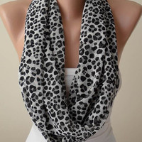 Mother's Day Gift - Black and White Leopard Print Infinity Scarf -  Chiffon Fabric