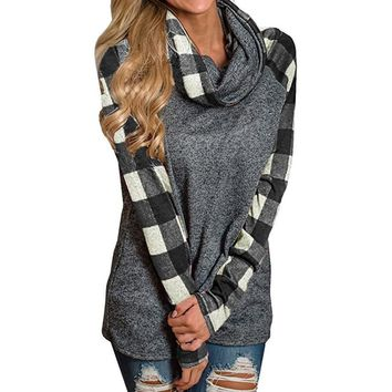 Winter Autumn Women Hoodies Casual Tops Ladies Turtleneck Tops Plaid Shirts Tunic Long Sleeve Pullover Sweatshirt Femme WS&&40
