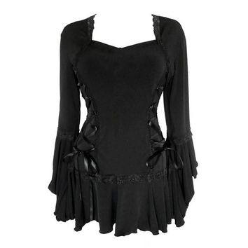 Gothic Style Sweetheart Neck Long Sleeve Pure Color Lace-Up Women's Blouse