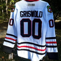 Vintage #00 Chicago Blackhawks CCM Griswold  Sewn NHL 80s movie National Lampoons Christmas Vacation