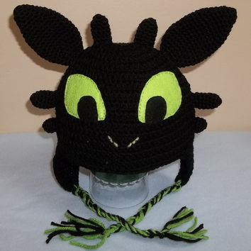 Toothless The Dragon crocheted hat.