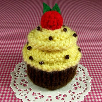 KNITTING PATTERN Cupcake Banana Nut Ornament Toy Amigurumi Food Pincushion Pattern Instant Download PDF